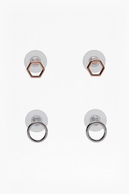 Complete the Look Small Hexagonal Stud Earring Set