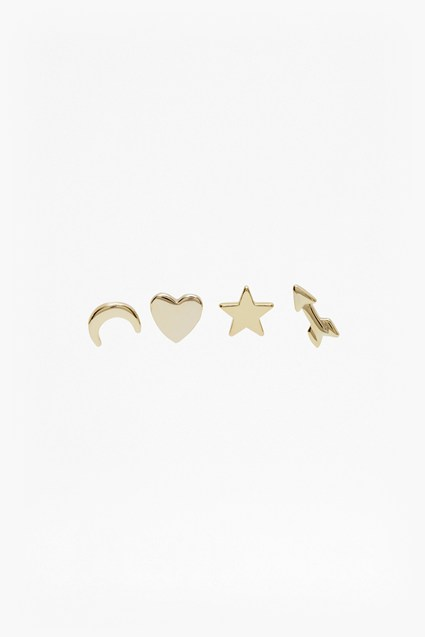 Four Mismatch Stud Earrings