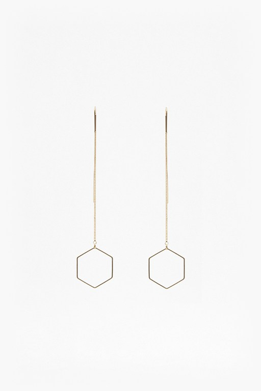 Geo Drop Hexagon Earrings