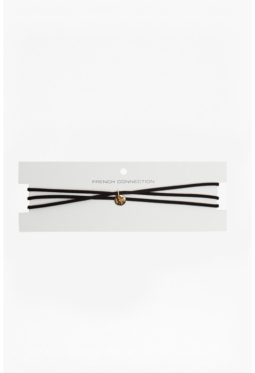 Skinny Suede Multi Wrap Choker With Ball