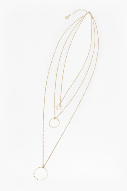 Geo Multi Circle Tiered Necklace