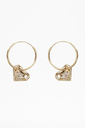 Caged Stone Heart Earrings