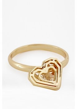 Caged Stone Heart Ring