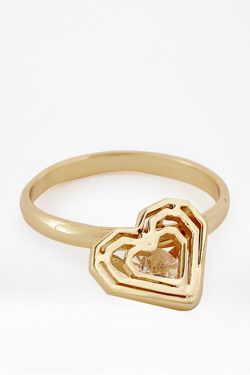 Caged Stone Golden Heart Ring