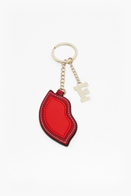 Lips Faux Leather Keyring