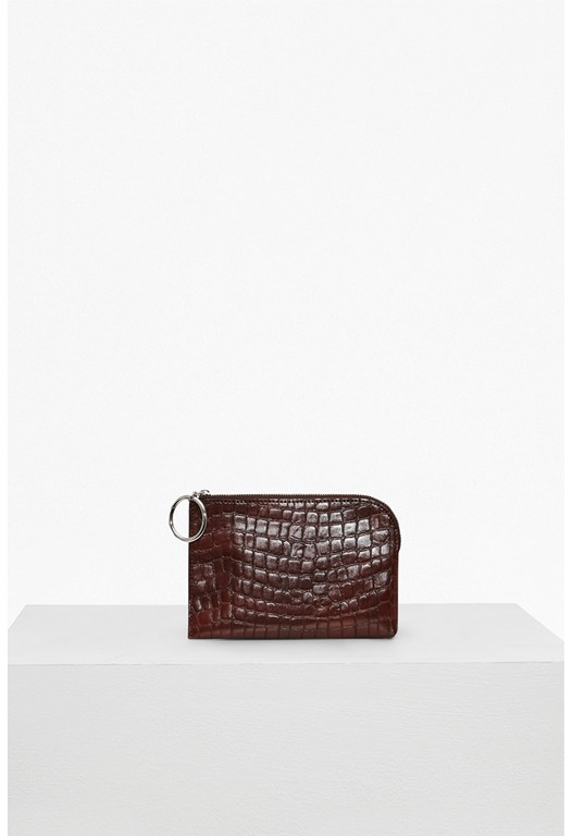 Oversized Buckle Croc Faux Leather Wallet