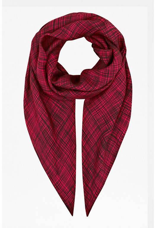 Textured Check Silk Scarf