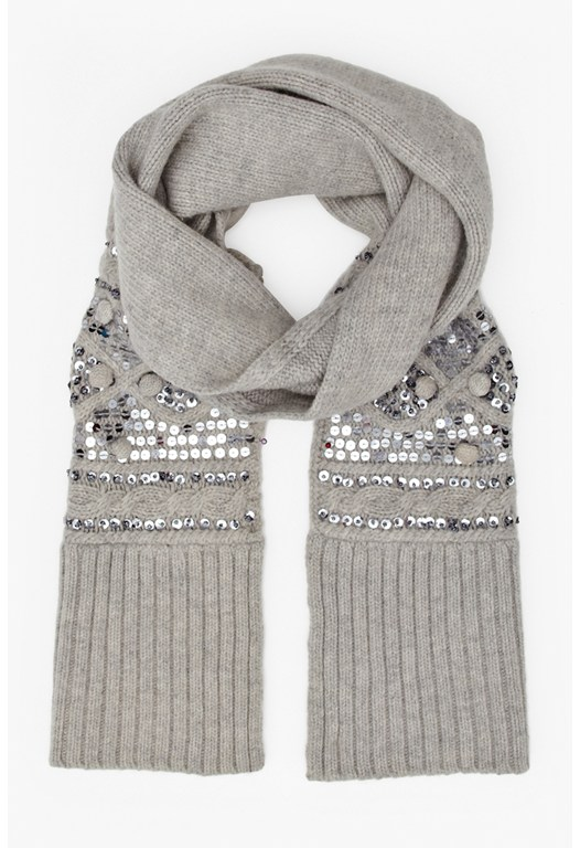 Carina Wool-Blend Sequinned Scarf