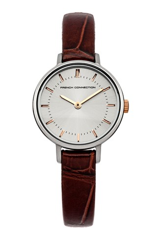Grey Sunray Brown Leather Watch