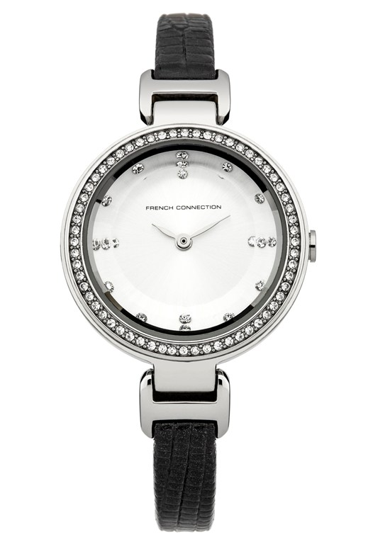 White Dial And Crystal Leather Watch