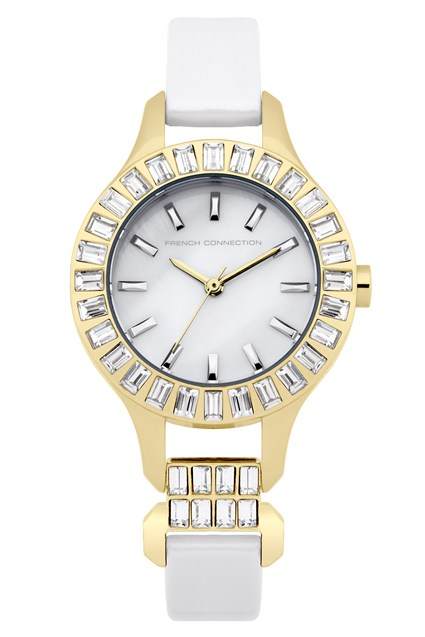 Savile Crystal Gold-Plated Leather Watch