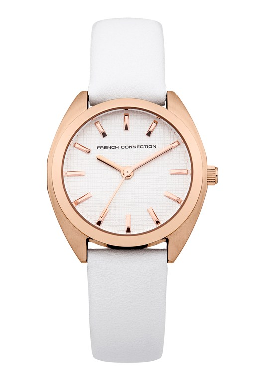 Brushed Finish White Leather Watch