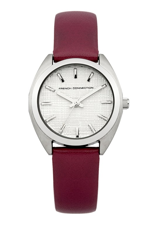 Brushed Finish Leather Strap Watch