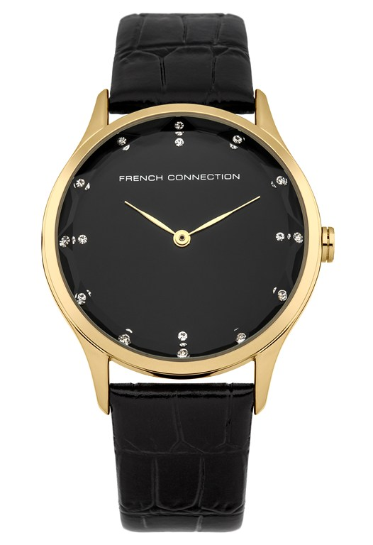 Gold Case Croc Leather Strap Watch