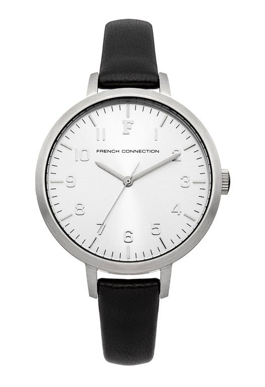 Brushed Case Leather Strap Watch