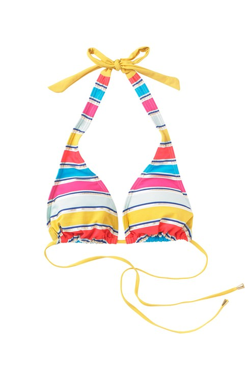 Stripey Sandy Triangle Halter Top