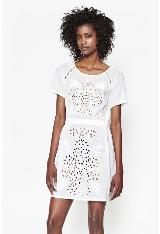 Embroidered Beach Mini Dress