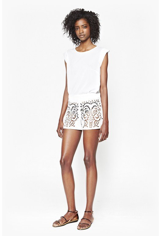 Embroidered Cut-Out Beach Shorts