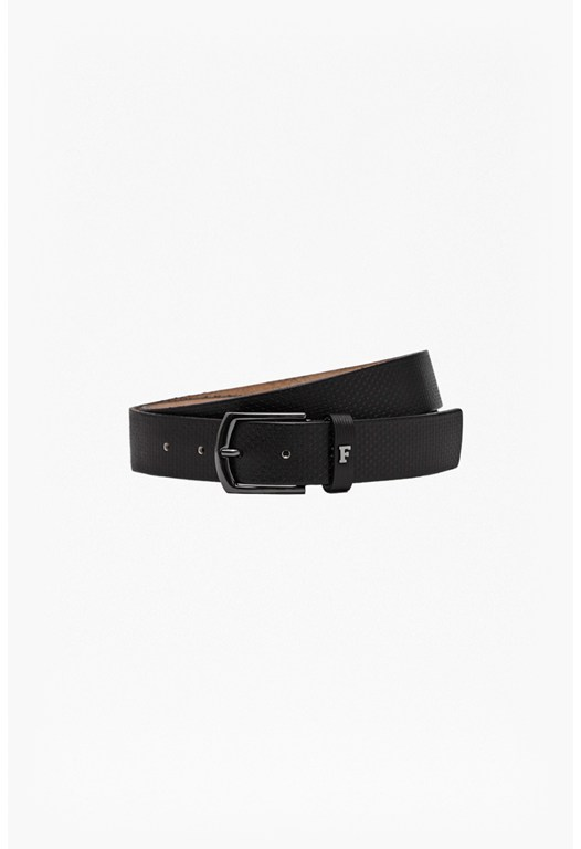 Edmond Geo Embossed Leather Belt