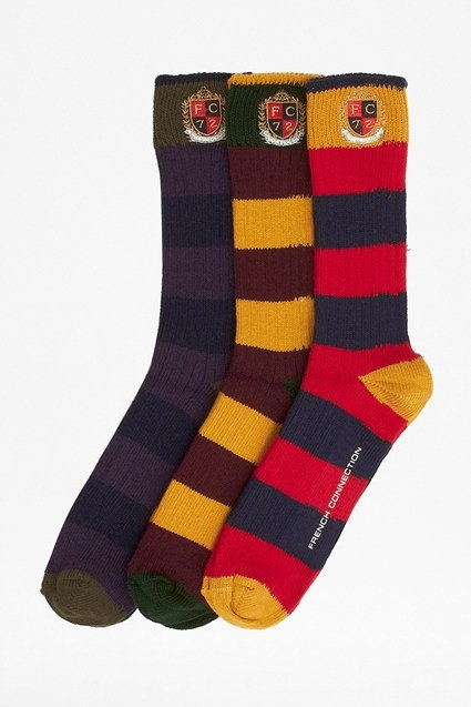 Three Pack Perfect Rugby Striped Socks