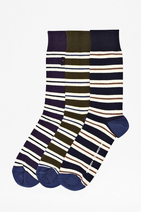 Three Pack Post Graduate Striped Socks