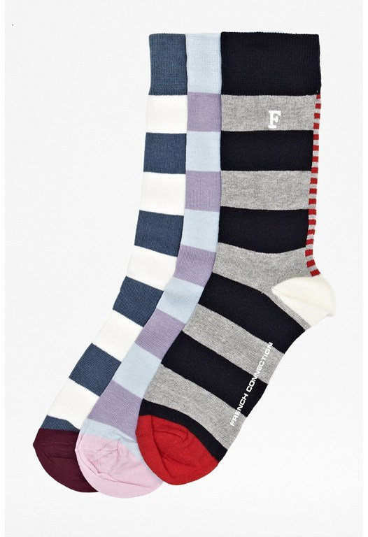 Three Pack Rugby Stripe Socks