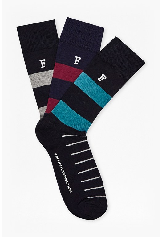 Vincent Multi Stripe 3Pk Socks