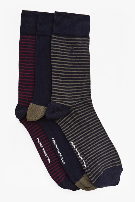 Complete the Look Sambit Mini Stripe 3 Pack Socks