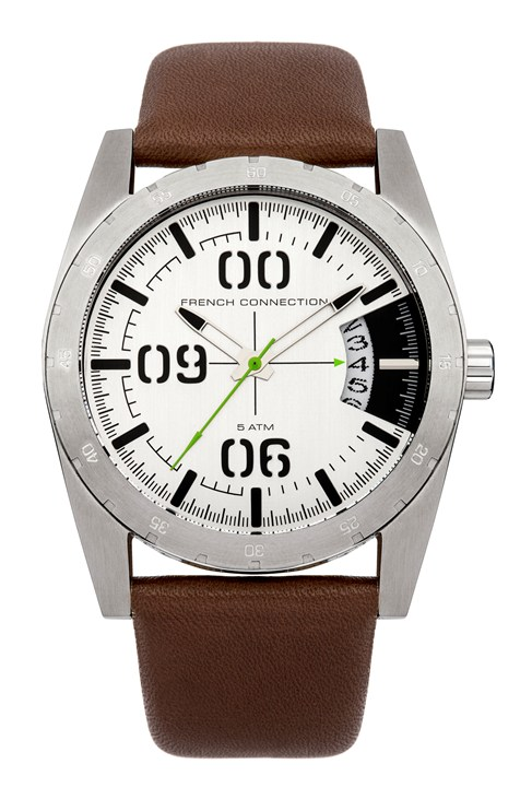 Brushed Silver And Leather Watch