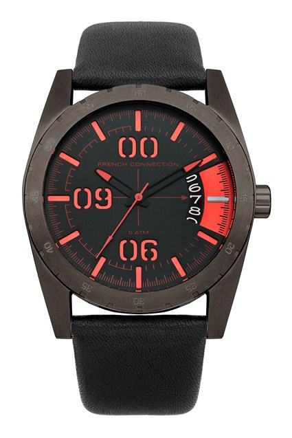 Brushed Black Leather Watch