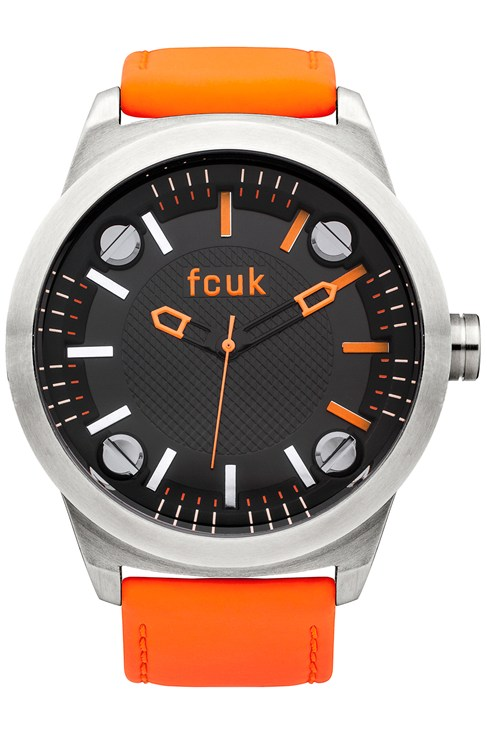 FCUK Matte Black Leather Watch