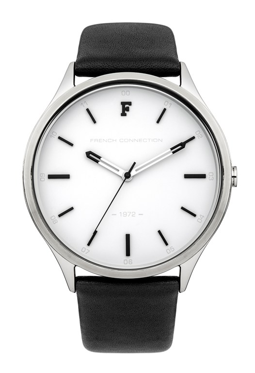 Monochrome Leather Strap Watch