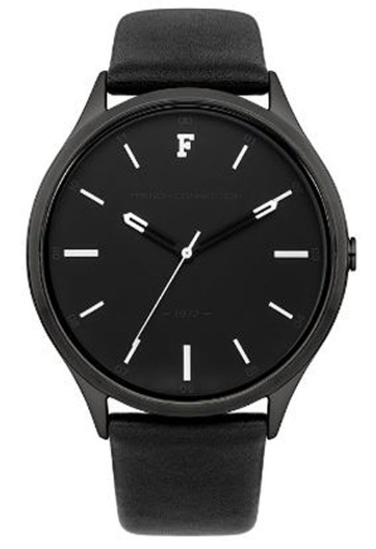 Monochrome Black Leather Strap Watch