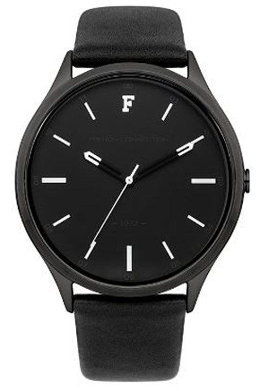 Complete the Look KENSINGTON GRAND Black Leather Strap Watch