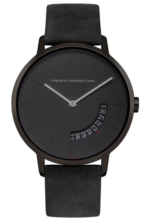 39MM Black Leather Strap Watch