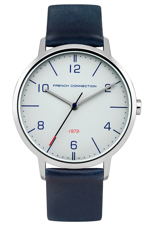39MM Blue Leather Strap Watch