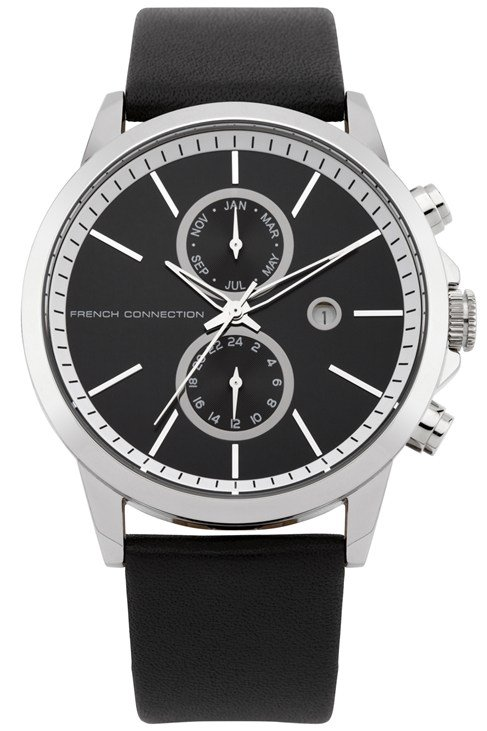 Round Black Leather Watch