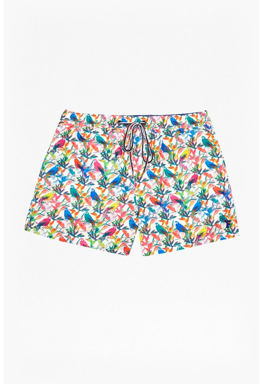 Macaw Print Drawstring Swim Shorts