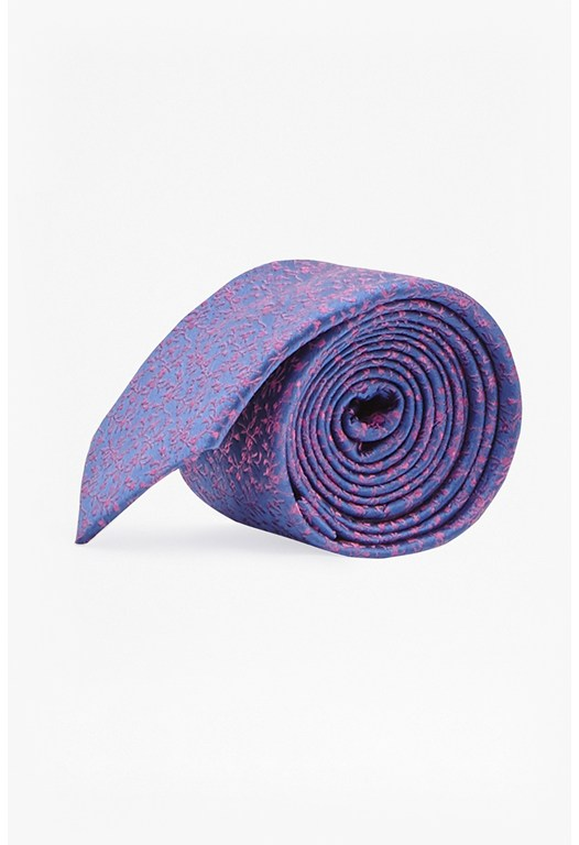 Pink and Blue Floral Silk Tie