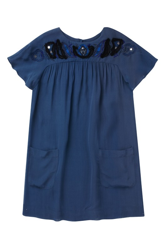 French Connection Bora Beading Pocket Dress Blue