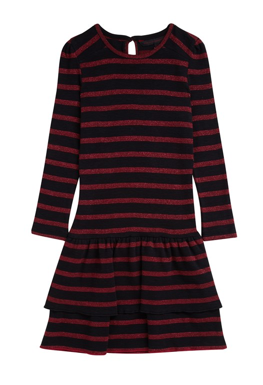 French Connection Riley Lurex Stripe Dress Red/Black