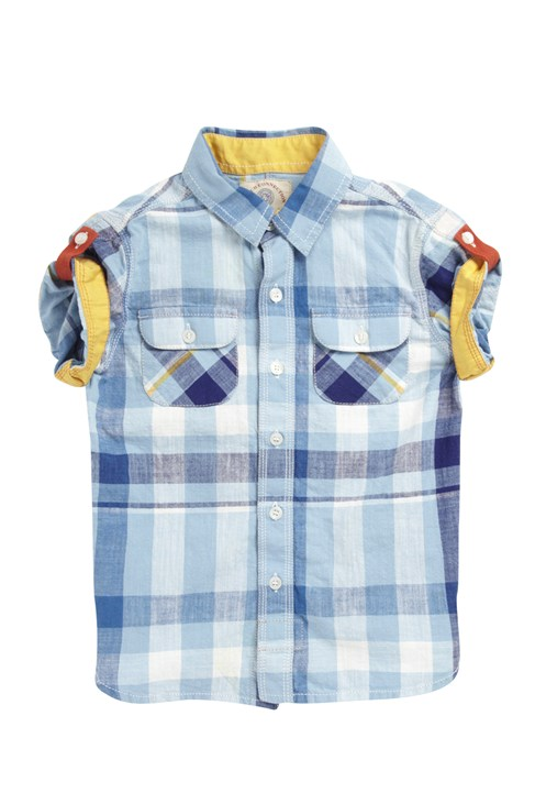 Short Sleeve Cotton Check Shirt Blue