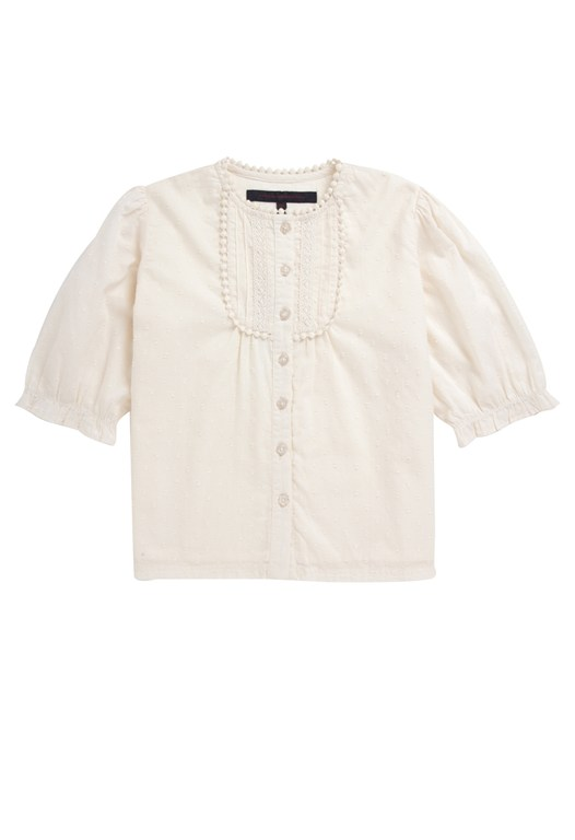 French Connection Lace Dobby Bib Lace Top White