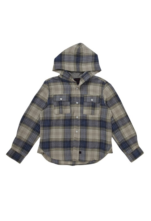 French Connection Hooded Check Shirt Blue