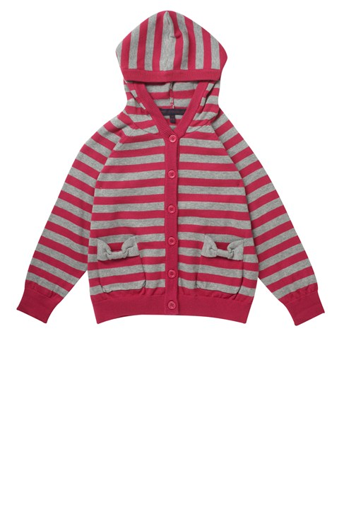 Bow Stripe Knit Hoody