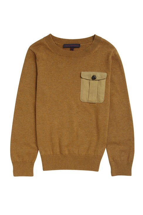 Harvey Cotton Elbow Patch Crew