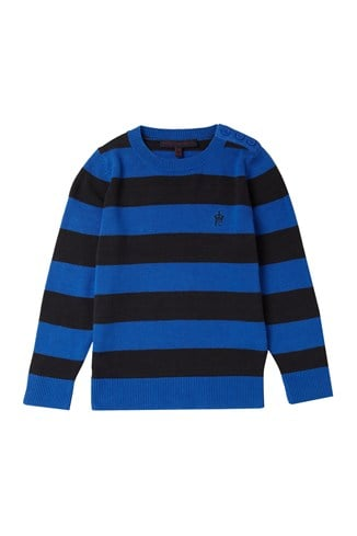 Ernie Cotton Stripe Button Crew