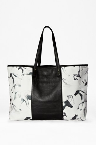 Printed Horses Leather Shopper Bag