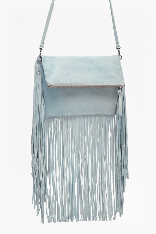Complete the Look Tia Fringe Foldover Suede Clutch
