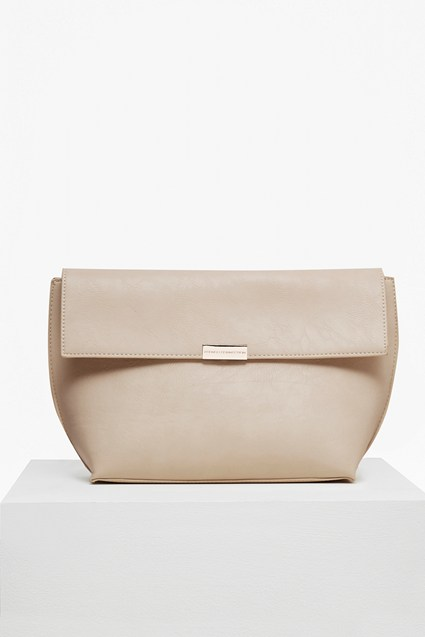 Branded Faux Leather Clutch